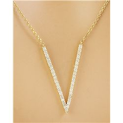 "0.40 CTW Diamond 18K Yellow Gold ""V"" Necklace"
