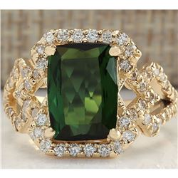 3.84CTW Natural Green Tourmaline And Diamond Ring In14K Solid Yellow Gold