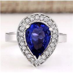 3.13 CTW Natural Blue Tanzanite And Diamond Ring 18K Solid White Gold
