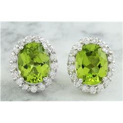 4.72 CTW Peridot 14K White Gold Diamond Earrings