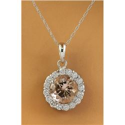 1.82 CTW Morganite 18K White Gold Diamond Necklace