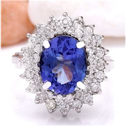 4.72 CTW Natural Tanzanite 18K Solid White Gold Diamond Ring