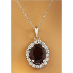 2.00 CTW Garnet 18K White Gold Diamond Necklace