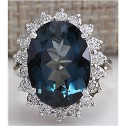 10.11CTW Natural London Blue Topaz And Diamond Ring In18K Solid White Gold
