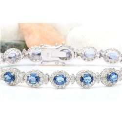 16.48 CTW Natural Sapphire 18K Solid White Gold Diamond Bracelet