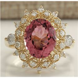 4.61 CTW Natural Pink Tourmaline And Diamond Ring 14K Solid Yellow Gold