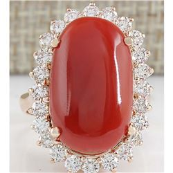 12.10CTW Natural Red Coral And Diamond Ring In 14K Rose Gold
