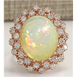 8.11 CTW Natural Opal And Diamond Ring In 18K Rose Gold