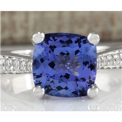 4.11 CTW Natural Blue Tanzanite And Diamond Ring 14K Solid White Gold