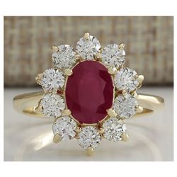 2.90 CTW Natural Ruby And Diamond Ring 18K Solid Yellow Gold