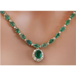 29.75 CTW Natural Emerald 14K Solid Yellow Gold Diamond Necklace