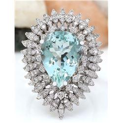 7.18 CTW Natural Aquamarine 18K Solid White Gold Diamond Ring
