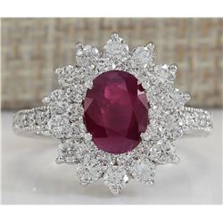 3.25 CTW Natural Ruby And Diamond Ring In 18K White Gold