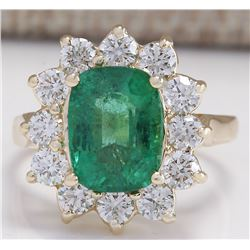 4.11 CTW Natural Emerald And Diamond Ring 18K Solid Yellow Gold
