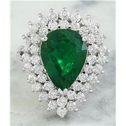 5.80 CTW Emerald 18K White Gold Diamond Ring