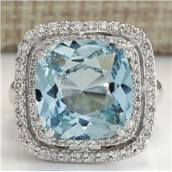6.92CTW Natural Aquamarine And Diamond Ring In 18K Solid White Gold