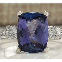 4.92 CTW Natural Tanzanite And Diamond Ring 18K Solid White Gold