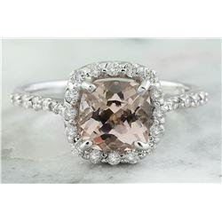 2.00 CTW Morganite 18K White Gold Diamond Ring