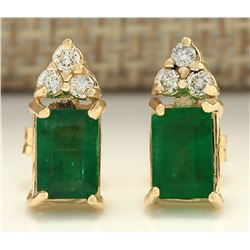 1.60 CTW Natural Emerald And Diamond Earrings 18K Solid Yellow Gold