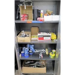 Contents of Cabinet: Gloves, Spray Socks, SuperTuff Strainers, Rollers, etc