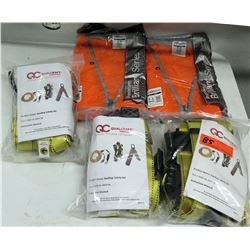 Qty 3 Qualcraft Rooftop Safety Kits & 2 Premium Brilliant Series Vests New