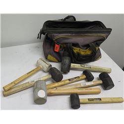Qty 7 Misc Rubber Mallets w/ Wood Handles:  Estwing, Steel Grip etc in Carry Bag