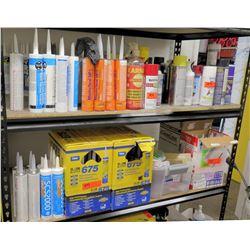 Contents of Shelf: Rain Buster/CS2000 Sealants, Tub&Tile Silicone, Quick Asphalt, etc