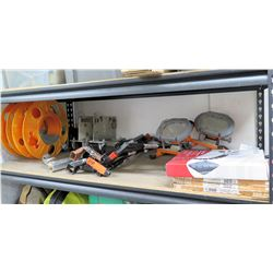 """Contents of Shelf:  Cable Reels, Cord Organizer, Lights, 6"""" Moheco Protectors, etc"""