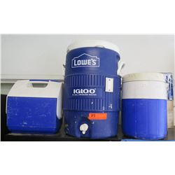 Qty 3 Coolers: 5 Gal Igloo w/ Spout, Square Mini & Beverage Cooler