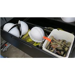Contents of Drawer: Construction Hard Hats, Canvas Straps & Fittings, etc