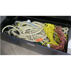 Contents of Drawer:  Misc Strength & Size Ropes, Straps, Fittings, etc