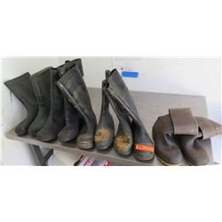 Qty 5 Pair Knee High Rubber Boots Galoshes