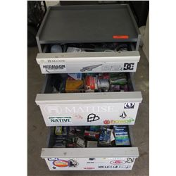 3 Drawer Metal Tool Cabinet & Contents: Ratchets, Sockets, Wrenches, Parts, etc