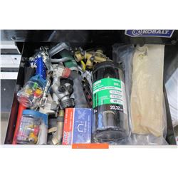 Contents of Drawer:  Cable Ties, Pipe Elbows & Connectors, Staples, etc
