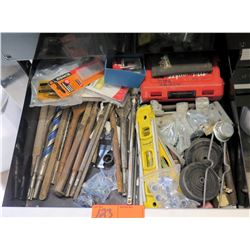 Contents of Drawer: Levels, Drill Bits, Shingle/Roofers Utility Blades, etc