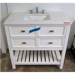 Bathroom Sink w/ Faucet & White 4 Drawer Wooden Vanity Cabinet w/ Stone Top