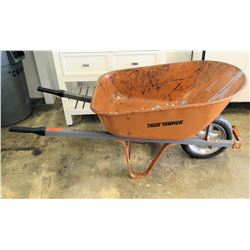 Orange Metal True Temper Wheelbarrow w/ Steel Handles