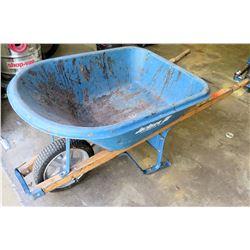 Blue Metal Jackson Professional Tools Wheelbarrow w/ Wood Handles