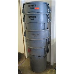 Qty 5 Rubbermaid BRUTE Industrial Heavy Duty Plastic Trash Cans