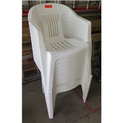 Qty 12 White Plastic Stacking Chairs