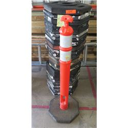 Qty 27 Safety Orange PE Delineator Post Cone on Black Octagon Bases