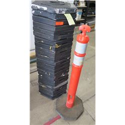 Qty 26 Safety Orange PE Delineator Post Cone on Black Octagon Bases