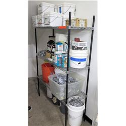 Shelf & Contents: Coil Roofing Nails, Staples, Abrasive Belts, Ties, Fasteners, etc