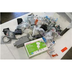 Box 19 Watt Compact Fluorescent Bulbs, RIDGID Washers, Misc Brackets, etc