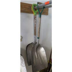 Qty 3 Metal Scoop Shovels w/ Wood & Metal D-Grip Handles