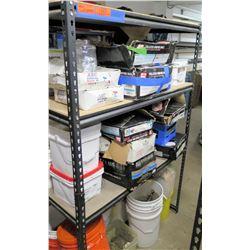 Shelf & Contents:  Multiple Boxes & Pails Nails - ABC Plastic Cap, Coil & Roofing, etc
