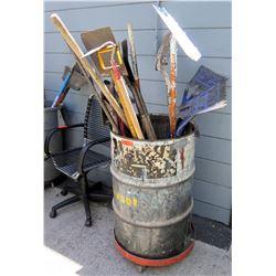 Roofing Tools, Shovels, Scrapers, etc. w/ Black 55-Gallon Drum