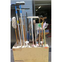 Wood Broom Holder w/ Brooms, Mops, Scrapers, etc