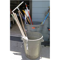 Qty 2 Rubbermaid Brute Trash Cans w/ Shovels, Paint Rollers, Brooms, etc