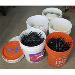 Qty 5 Plastic 5 Gallon Pails w/ Assorted Nails, Sand, etc